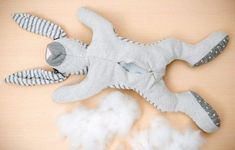 """So you sew this cute cuddly bunny for your child!- Nothing is as special as self-sewn children's clothing or a handmade cuddly toy. We show you from the book """"Einfach Schnittig"""" a sewing instruction for a large soft toy: the cuddly bunny made of jersey. Big Stuffed Animal, Dinosaur Stuffed Animal, Stuffed Animals, Diy Bebe, Aunt Gifts, Amigurumi Doll, Diy Toys, Sewing For Kids, Handmade Clothes"""