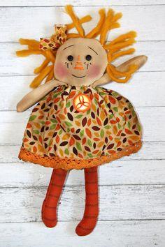 Fall Ornament Sized Annie  Primitive Raggedy by HeartstringAnnie, $13.00