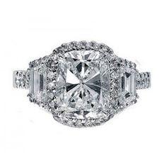 1.00 CARAT CENTER CUSHION CUT GIA THREE STONE DIAMOND ENGAGEMENT/ANNIVERSARY RING 18K WHITE GOLD
