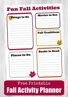 Get ready for Autumn with this FREE printable Fall Planner page and jot down all your favorite things to do this season! Fun Outdoor Activities, Autumn Activities For Kids, Holiday Activities, Craft Activities, Planner Pages, Printable Planner, Free Printables, Creative Thinking, Fun Projects