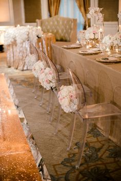 Head Table at a Rose Gold Wedding Featuring Ghost Chairs Head Table Wedding Decorations, Head Table Decor, Luxury Wedding, Gold Wedding, Ghost Chairs, Linen Rentals, Dallas Wedding, Wedding Planner, Merry