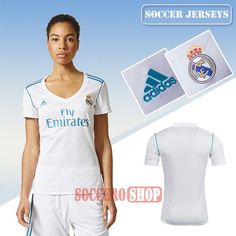 Customized Vintage White Real Madrid Home Womens New Soccer Jerseys With My Name 2017 2018 Personalise