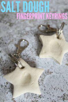 These simple salt dough fingerprint keyrings make fantastic keepsakes or gifts for Fathers Day or for grandparents.