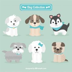 Assortment of dogs with six different breeds Vector Animals And Pets, Baby Animals, Cute Animals, Dog Vector, Vector Free, Pet Shop, Emotional Support Animal, Felt Dogs, Puppy Party