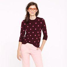 "J Crew cashmere polka-dot sweater. On my ""back to school"" shopping wish list."