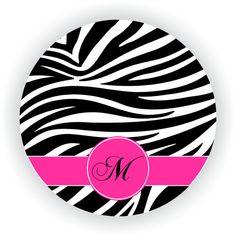 Personalized+Cutting+Board+-Zebra+-+Monogram+Personalized+Round+Glass+Cutting+Board
