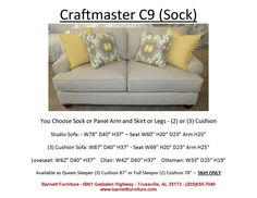 Craftmaster Studio Size Sofa With Sock Arm And Turned Leg. You Choose From Arm  Styles And Skirt Or Leg Styles.