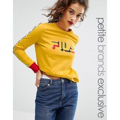 Fila Petite Motif Long Sleeve T-shirt (215 ILS) ❤ liked on Polyvore featuring tops, t-shirts, petite, yellow, petite tee, yellow jersey, long sleeve jersey, jersey t shirt and yellow tee