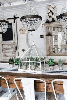 Faux herbs but I like the pots and terrarium at Lizmarieblog