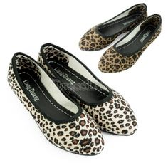 New Fashion Sexy Leopard Women Pointed Flat Shoes For Lady Flats / Beige Brown