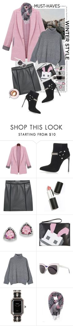 """""""Happy Friday!! Grey and  Pink Winter Style!!"""" by shortyluv718 ❤ liked on Polyvore featuring Oris, Yves Saint Laurent, MANGO, Sigma Beauty, Kevin Jewelers, Martha Stewart, McQ by Alexander McQueen, Christian Dior, Chanel and women's clothing"""