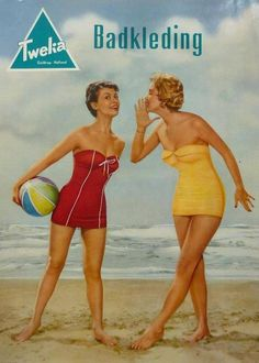 TweKa Badkleding Vintage Advertisements, Vintage Ads, Vintage Posters, 1950s Fashion Women, Swimsuits, Bikinis, Swimwear, Old Commercials, Bathing Beauties