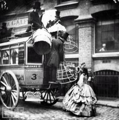 During the mid-19th century, crinolines were so large that women were unable to fit into public transportation without first removing their large hoop-skirts