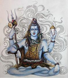 Mahakal Shiva, Shiva Art, Hindu Art, Lord Ganesha, Lord Krishna, Indian Gods, Indian Art, Shiva Tattoo, Lord Shiva Painting