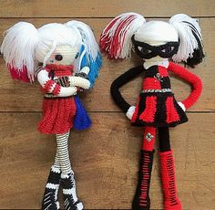 Harley Quinn and Harley Quinn crocheted art dolls based on the character from DC Comics and DC Universe by Margaux of Creative Chaos