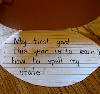 great idea for the first day of school! at the last day of school I would have my students look at their goal:)!