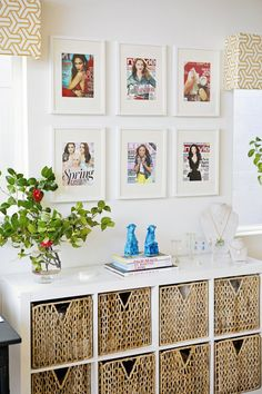 Margaret Elizabeth Jewelry Studio Tour has pops of color and plenty of texture to set the tone in this studio workspace and showroom. It features a KALLAX shelving unit and PJAS baskets to create a nice display and storage area.