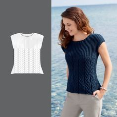 Bluse - Lilly is Love Free Knitting Patterns For Women, Beginner Knitting Patterns, Lace Knitting Patterns, Knitting Designs, Knit Vest Pattern, Summer Knitting, Crochet Shirt, Knit Fashion, Pulls
