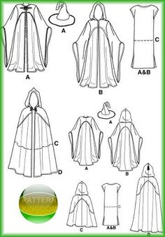 Make your own Cosplay Costume in the style of the Lord of the Rings with Simplicity Sewing Pattern - NEW / Uncut! - by designer Andrea Schewe, Misses, Men and Teen hooded cape/cloak, tunic & hat costumes Sewing Hacks, Sewing Tutorials, Sewing Crafts, Sewing Projects, Diy Clothing, Sewing Clothes, Clothing Patterns, Dress Sewing, Costume Patterns