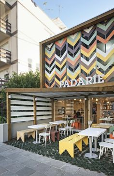 Padarie Cafe by CRIO Arquiteturas. What an awesome cafe front!