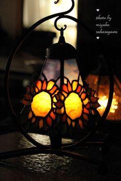 Sunflower stained glass lantern.