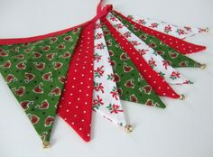 Jingle Bells Bunting Holiday Decor Robin Holiday by NessaFoye