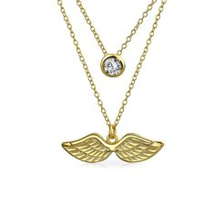 Gold Plated Silver Round CZ Angel Wings Layered Necklace Set ** You can find more details by visiting the image link. #JewellerySets