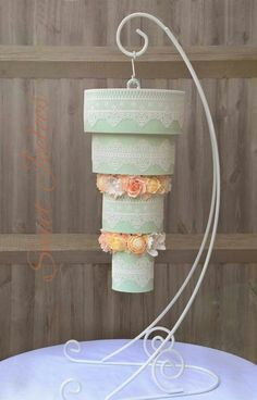 Upside Down, Hanging Wedding Cake, Edible Art. LOVE this with the lace and the…