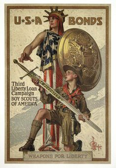 Gorgeous WWI War Bonds Poster from the Boy Scouts Of America.