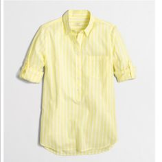 J Crew Yellow Striped Shirt Striped yellow shirt. Roll up sleeve, one patch pocket on chest and half  way button closure. Let me know if you have any question. Thanks J. Crew Tops Blouses