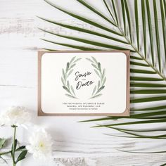 Olive Green Rustic Save the Date - www.vintageprints.co.uk - stunningly simplistic design ideal for those naturally styled weddings! ❤️