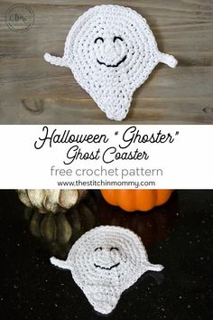 "Halloween ""Ghoster"" Ghost Coaster - Free Crochet Pattern #CALCentralCrochet 