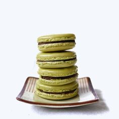 Matcha Macarons with Chocolate Almond Butter filling