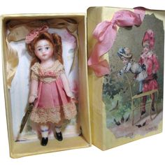 """Tiny Miniature 2 3/4"""" All Bisque Dollhouse/ doll's doll in keepsake box"""