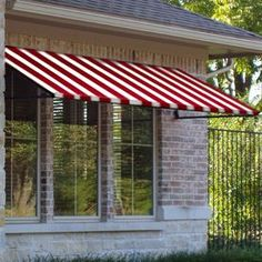 Awntech�3-ft 4-1/2-in Wide x 4-ft Projection Red/White Striped Open Slope Window/Door Awning