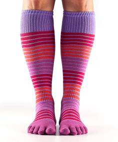 Look what I found on #zulily! Pink & Purple Hula-Hoop Organic Full-Toe Knee-High Socks by ToeSox #zulilyfinds