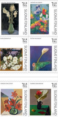 Suomalaista taidetta postimerkeissä, ilmestymispäivä 09.09.2009 / a booklet of finnish stamps, Finnish Art II ( 6 1st class booklet) Still life paintings of flowers,  issued 09.09.2009  http://www.posti.fi/tiedotteet/2009/20090826_postimerkit.html