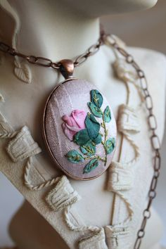 Hand Embroidered Silk Ribbon Pendant Necklace by HummingNeedles Ribbon Embroidery Tutorial, Rose Embroidery, Silk Ribbon Embroidery, Embroidered Silk, Ribbon Art, Textile Jewelry, Flower Making, Handmade Jewelry, Jewelry Making