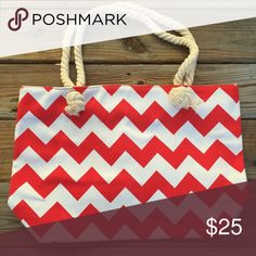 """Canvas Red & White Chevron Tote Bag Canvas Chevron Tote Bag Red & White  20""""x13""""x5"""" 10"""" drop handle/shoulder strap Zipper closure  Perfect for football, baseball, basketball, soccer, cheer, etc. mom!  Save on a bundle! Lots of clothes, makeup, jewelry and new boutique items. Great for Christmas gift giving or stocking stuffers. I love accepting offers. Bags"""