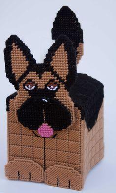 everything plastic canvas | Plastic Canvas- 3D German Shepherd Tissue Topper Plastic-Canvas-Kits ...