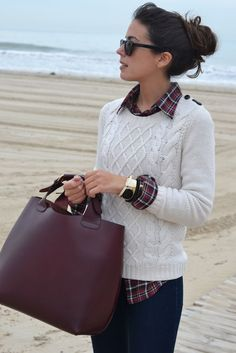 Love the plaid blouse, jeans and loose fitting gable knit sweater.  Leather flats and I'd be set.