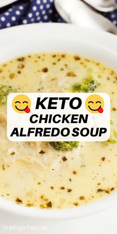 Keto Chicken Soup, Keto Soup, Chicken Alfredo Soup Recipe, Chicken Lunch Recipes, Recipe Chicken, Low Carb Keto, Low Carb Recipes, Healthy Recipes, Keto Meal Plan