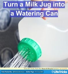 Turn a old plastic milk jug into a perfect watering can for your plants and flowers. Simply poke several small holes into the lid and fill jug with water.