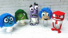 Crochet hatSadnessDisgustFear Joy Anger.Inside out by KrazyHats1