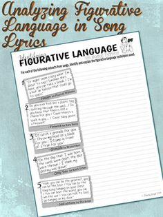 Quiz & Worksheet - Figurative Language in Music Lyrics | Study.com
