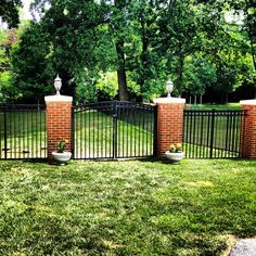 Custom Pillars with Black Aluminum fence and gates | McLean, Va | Beitzell Fence