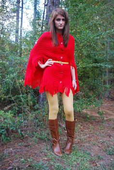 Red sweater poncho, cape, coat..