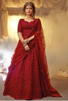 New Lehenga Choli, Pakistani Lehenga, Lehenga Choli Wedding, Red Lehenga, Lehenga Choli Online, Lehenga Skirt, Saree Blouse, Indian Bridal Outfits, Indian Dresses