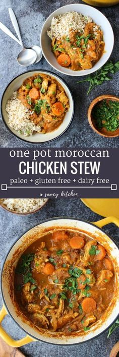 Paleo Moroccan Chicken Stew - Moroccan spiced veggies with shredded chicken and chopped dates | Dairy Free + Paleo