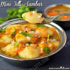 Mini Idli Sambar is the most kid's favourite recipe or commonly called as 14 Idli Sambar Recipe / Ghee Idli Sambar Recipe.